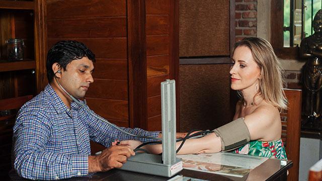 An Ayurvedic doctor consultation at Karunakarala Ayurveda Resort in Negombo, Sri Lanka